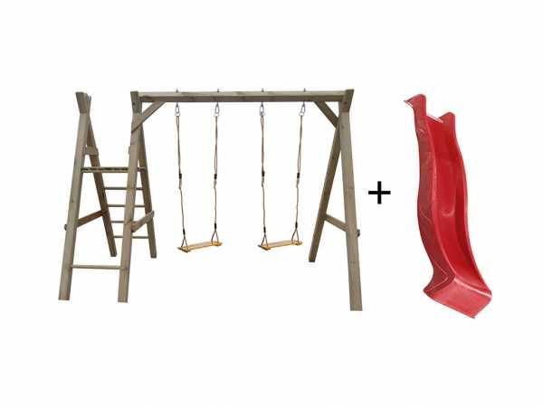 Doppelschaukel mit Podest kdi inkl. Rutsche rot + 2 Schaukelsitze Holz