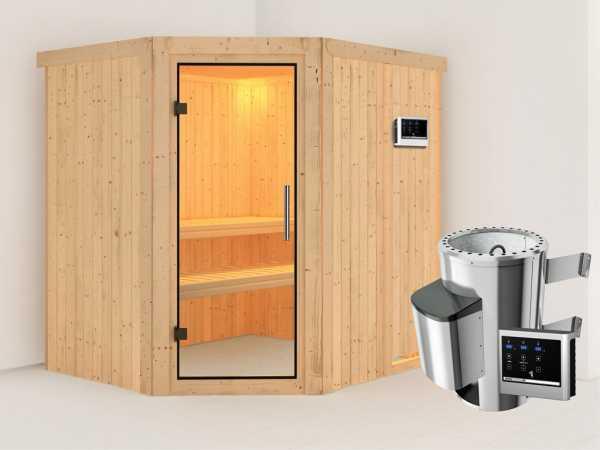 Sauna Systemsauna Lilja Klarglas Ganzglastür + Plug & Play Saunaofen mit externer Steuerung