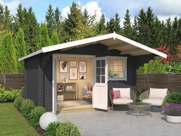 Gartenhaus Blockbohlenhaus Gotland 3E 40 mm carbongrau
