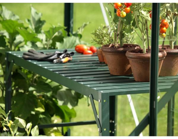 Gewächshaus Zubehör Aluminium-Tisch mit 2 Ebenen, dunkelgrün