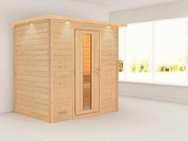 Sauna Massivholzsauna Sonja mit Dachkranz, Holztür mit Isolierglas