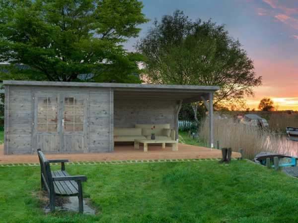 Gartenhaus Blockbohlenhaus Ella 8,7+10,0 m² 28 mm grau tauchimprägniert