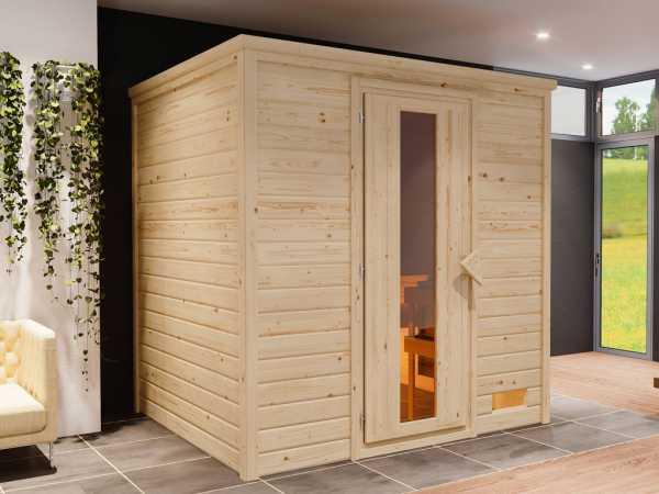 """Sauna Systemsauna """"Bergen 3"""" Holztür mit Isolierverglasung inkl. 9 kW Saunaofen mit ext. Steuerung"""