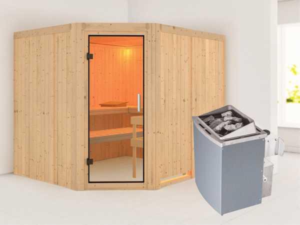 Sauna Systemsauna Malin Klarglas Ganzglastür + 9 kW Saunaofen mit Steuerung