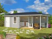 Gartenhaus Blockbohlenhaus Aruba 3B 40 mm lichtgrau