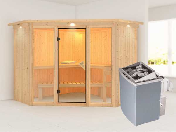 Sauna Systemsauna Flora 2 mit Dachkranz, inkl. 9 kW Saunaofen integr. Steuerung