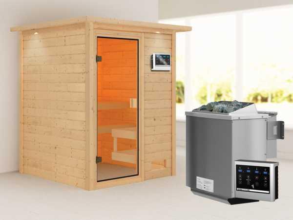"""Sauna """"Sandra"""" mit bronzierter Glastür und Dachkranz + 9 kW Bio-Kombiofen ext. Strg."""