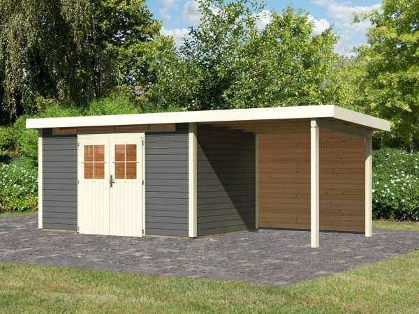 Gartenhaus SET Kerpen 5 28 mm terragrau, inkl. 2,6 m Anbaudach + Rückwand