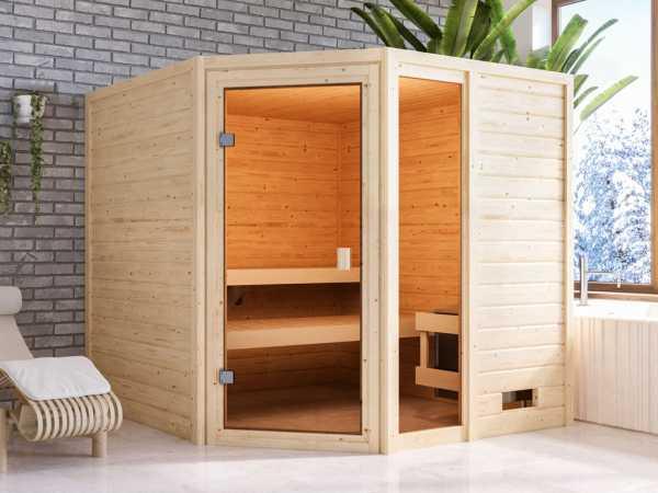 """Sauna """"Tabea"""" mit bronzierter Glastür + 9 kW Saunaofen integr. Strg."""