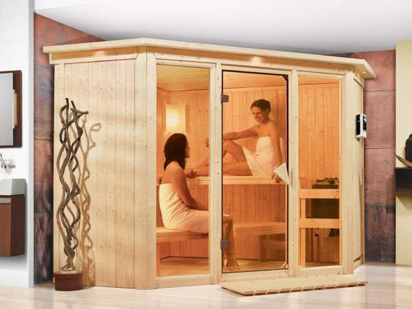 Sauna Systemsauna Flora 2 mit Dachkranz, inkl. 9 kW Bio-Kombiofen ext. Steuerung