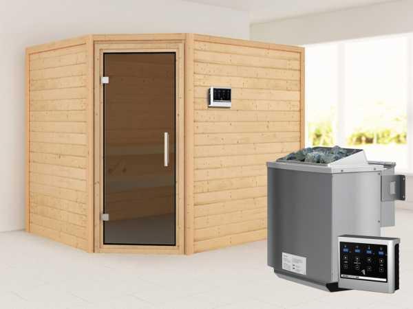 """Sauna """"Lisa"""" mit graphitfarbener Glastür + 9 kW Bio-Kombiofen mit ext. Strg."""
