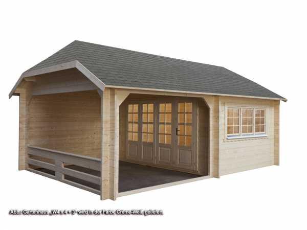 Gartenhaus Blockbohlenhaus W 4 x 3 + 3 50 mm crème-weiß