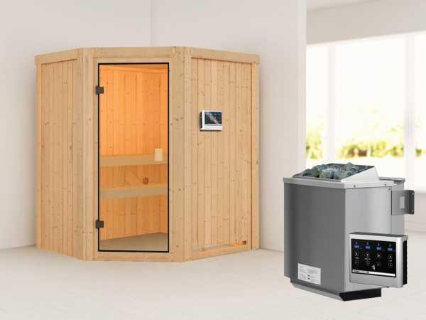 """Sauna """"Faurin"""" mit bronzierter Glastür + 9 kW Bio-Kombiofen mit ext. Strg."""