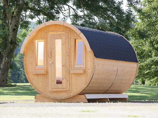 """Campingfass """"446 2-Raum"""" naturbelassen, komplett montiert, inkl. Dachschindlen schwarz"""