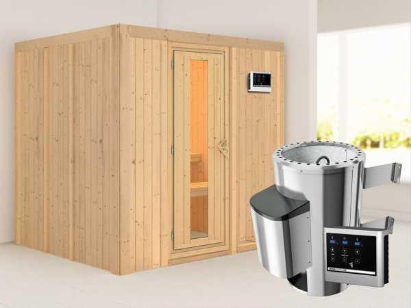 Sauna Systemsauna Daria Energiespartür + Plug & Play Saunaofen mit externer Steuerung