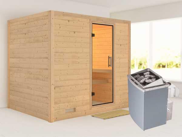 Sauna Massivholzsauna Sonara Klarglas Ganzglastür + 9 kW Saunaofen mit Steuerung