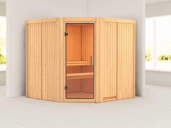 Sauna Systemsauna Jarin Klarglas Ganzglastür