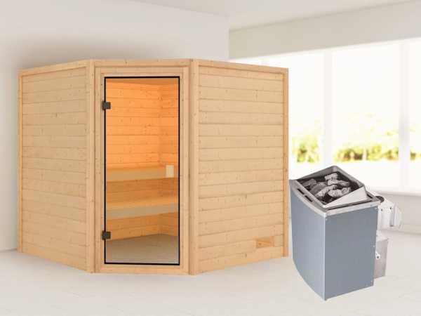 """Sauna """"Tilda"""" mit bronzierter Glastür + 9 kW Saunaofen integr. Strg."""