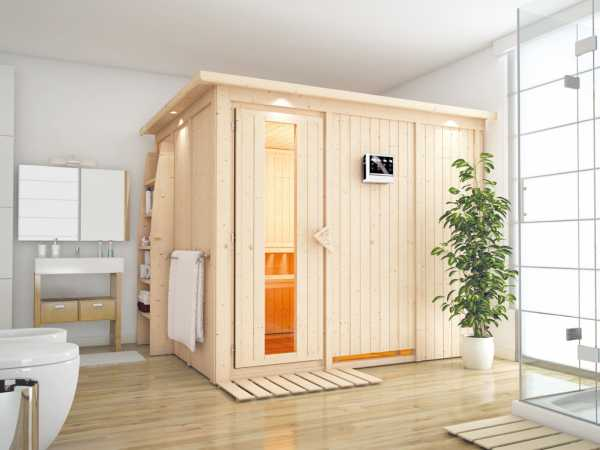 Systemsauna Gobin mit Dachkranz, Holztür mit Isolierglas, inkl. 9 kW Bio-Kombiofen ext. Steuerung