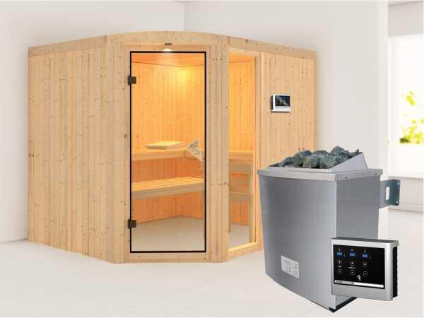 Sauna Systemsauna Lakura mit Fenster, inkl. 9 kW Saunaofen ext. Steuerung