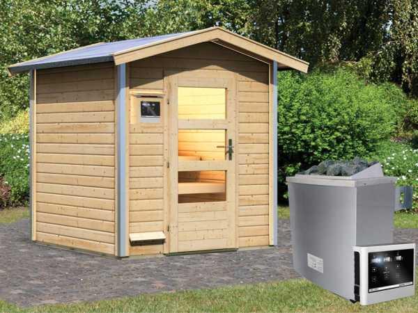 """Saunahaus """"Lasse"""" mit Klarglastür, inkl. 9 kW Saunaofen mit externer Steuerung"""