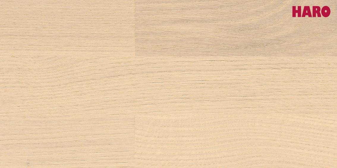 HARO Parkett Eiche sandweiß Trend strukturiert Serie 4000 3-Stab Schiffsboden 535414