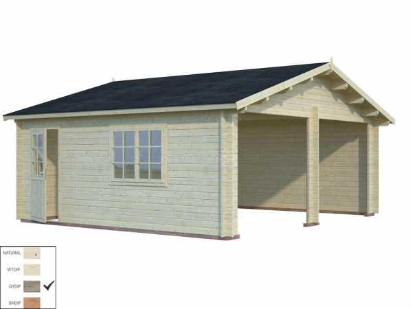 """Garage """"Roger"""" 28,4 m² ohne Tor 44 mm grau tauchimprägniert"""