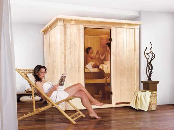 Sauna Systemsauna Daria mit Dachkranz