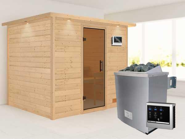 Sauna Massivholzsauna Karla mit Dachkranz, graphit Ganzglastür + 9 kW Saunaofen mit ext. Strg