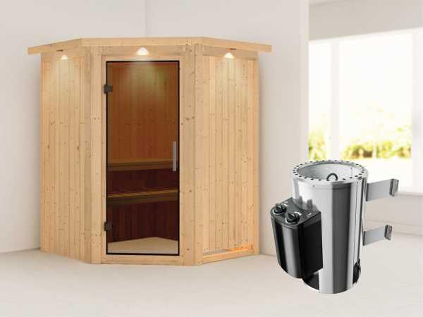 Sauna Systemsauna Nanja mit Dachkranz, graphit Ganzglastür + Plug & Play Saunaofen mit Steuerung