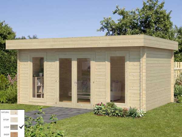 "Gartenhaus Blockbohlenhaus ""Bret"" 19,9 m² 44 mm grau tauchimprägniert"