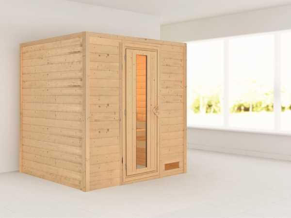 Massivholzsauna Anja Holztür mit Isolierglas
