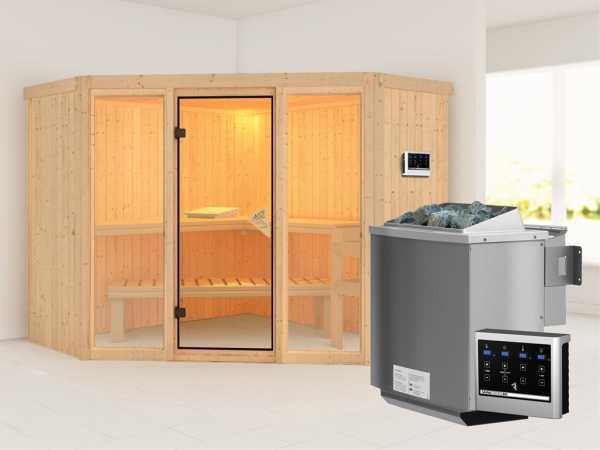 Sauna Systemsauna Flora 2 inkl. 9 kW Bio-Kombiofen ext. Steuerung