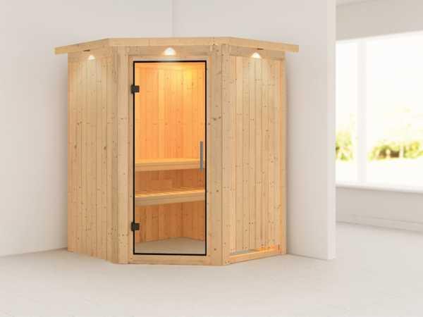 Sauna Systemsauna Nanja mit Dachkranz, Klarglas Ganzglastür