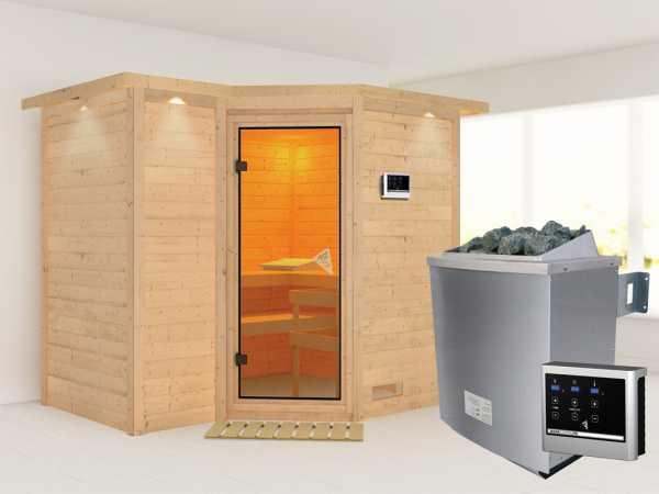 Massivholzsauna Sahib 2 mit Dachkranz, bronzierte Ganzglastür, inkl. 9 kW Ofen ext. Steuerung
