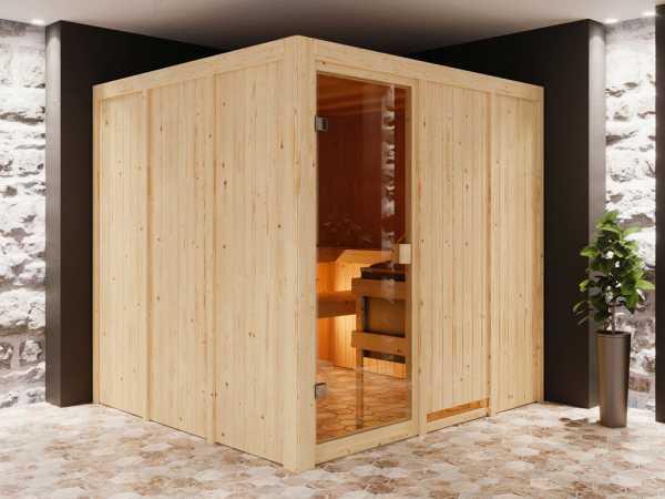 Sauna Systemsauna SPARSET Celine 4 inkl. 9 kW Ofen mit integr. Steuerung