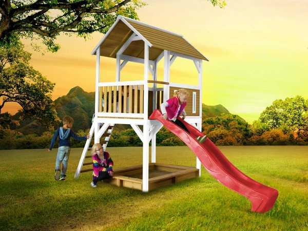Spielturm Pumba braun/weiß mit roter Rutsche