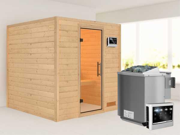 """Sauna Massivholzsauna """"Nora"""" Klarglas Ganzglastür + 9 kW Bio-Kombiofen mit ext. Strg"""