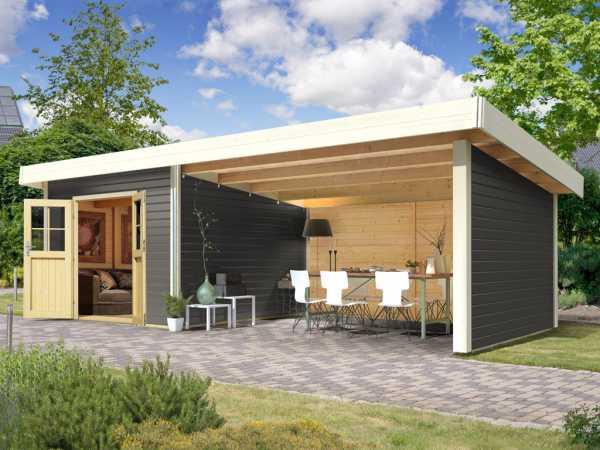 "Gartenhaus SET ""Moosburg 3"" Premium 40 mm terragrau inkl. 3 m Anbaudach + Seiten-/Rückwand"