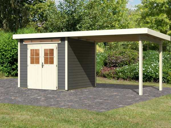 Gartenhaus SET Kerpen 2 28 mm terragrau, inkl. 3,2 m Anbaudach