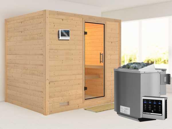 Sauna Massivholzsauna SPARSET Plicata inkl. 9 kW Bio-Kombiofen mit ext. Steuerung, klare Glastür
