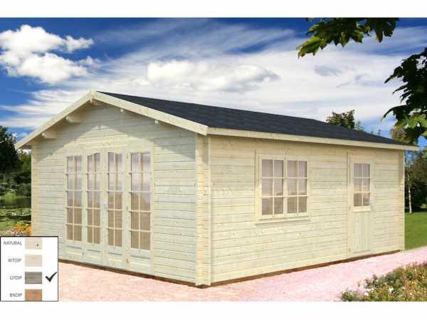 Gartenhaus Blockbohlenhaus Irene 19,0 m² 44 mm grau tauchimprägniert