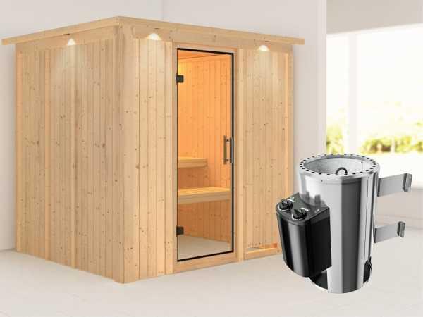 Sauna Systemsauna Daria mit Dachkranz, Klarglas Ganzglastür + Plug & Play Saunaofen mit Steuerung