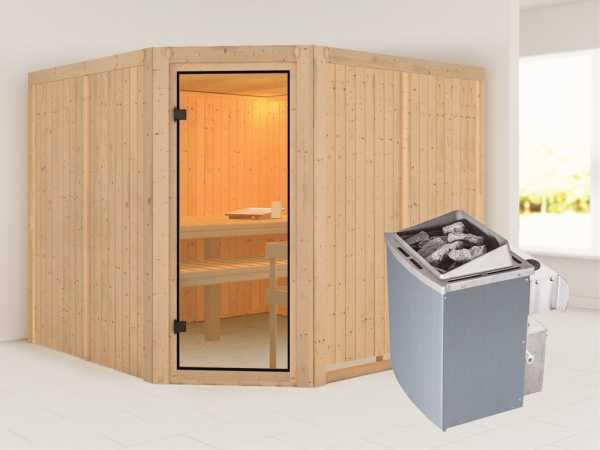 Sauna Ystad / Celine 7 mit bronzierter Glastür + 9 kW Saunaofen integr. Strg.