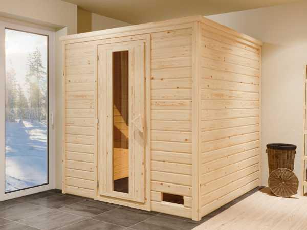 """Sauna Systemsauna """"Bergen 5"""" Holztür mit Isolierverglasung inkl. 9 kW Saunaofen mit ext. Steuerung"""
