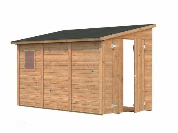 Gerätehaus Anlehnhaus Blockbohlenhaus Mia 5,2 m² 16 mm braun tauchimprägniert