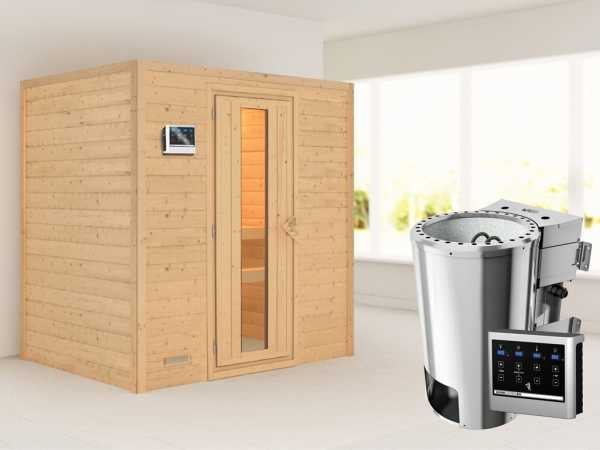 Sauna Massivholzsauna Ronja Energiespartür + Plug & Play Bio-Ofen mit externer Steuerung