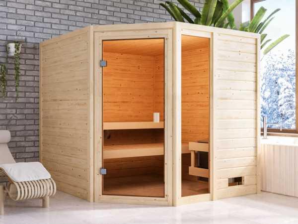 Sauna Massivholzsauna Tabea, mit bronzierter Ganzglastür