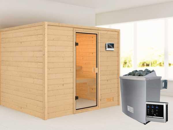 """Sauna """"Katja"""" mit bronzierter Glastür + 9 kW Saunaofen ext. Strg."""