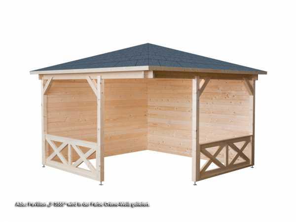 pavillon p 3555 cre 40 mm cr me wei 4 eckig holzpavillon garten holzprofi24. Black Bedroom Furniture Sets. Home Design Ideas